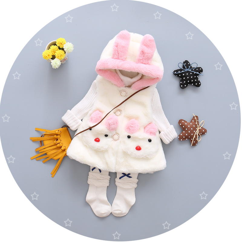 2016 new autumn and winter font b baby b font wool coat cotton fabric bunny ears