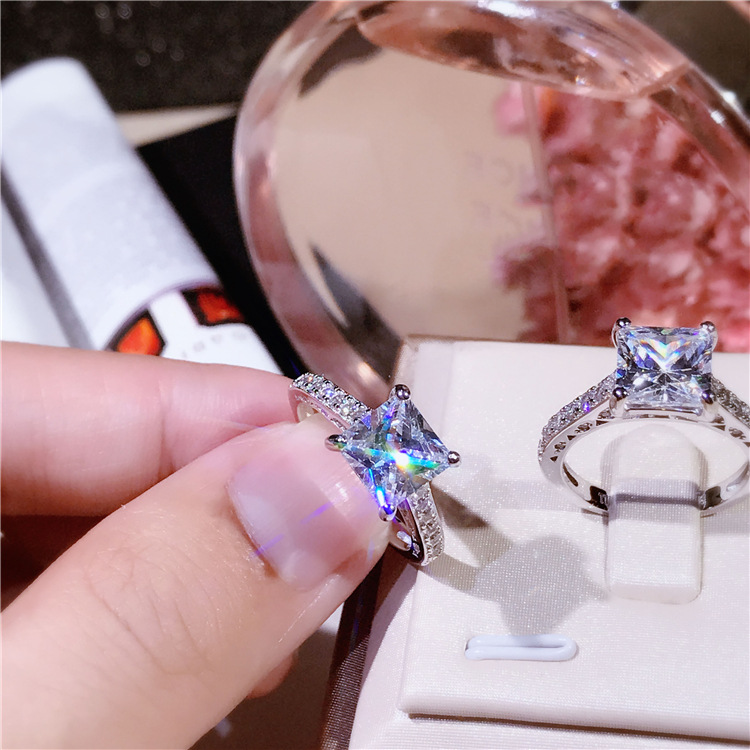 XI FAN juste fiançailles anneaux de mariage cubique zircone argent CZ pierre 925 bijoux en argent sterling pour les femmes anel gros XF105 - 3