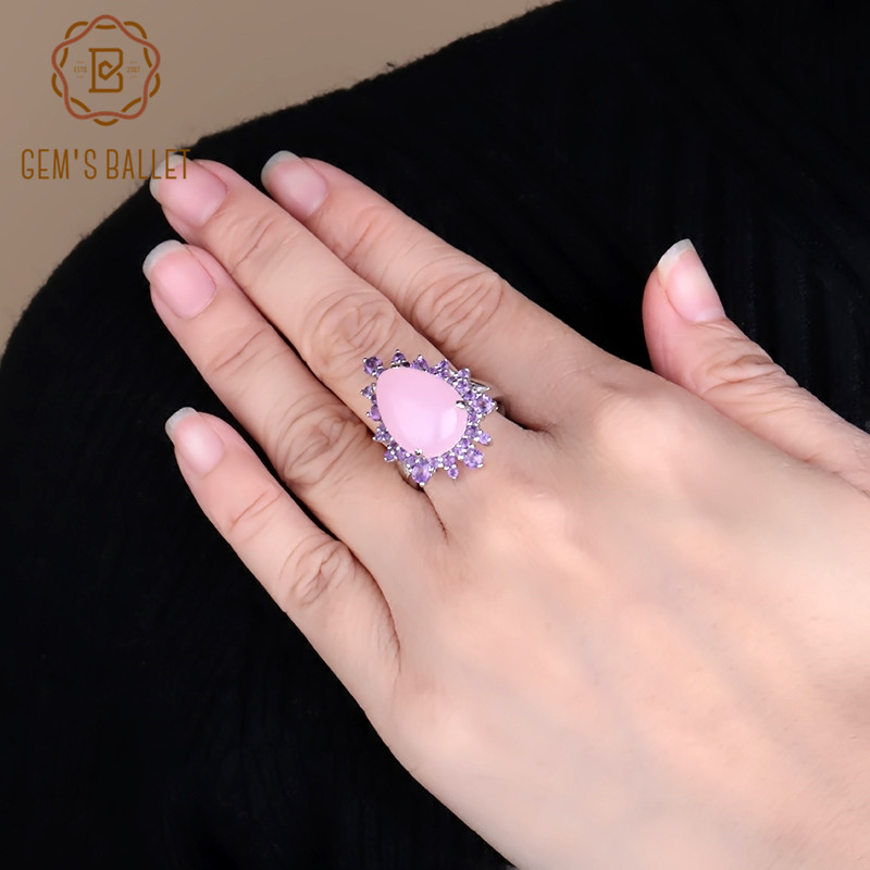 GEM'S BALLET Natural Pink Chalcedony Gemstone Ring 925 Sterling Silver Vintage Elegant Cocktail Rings For Women Fine Jewelry