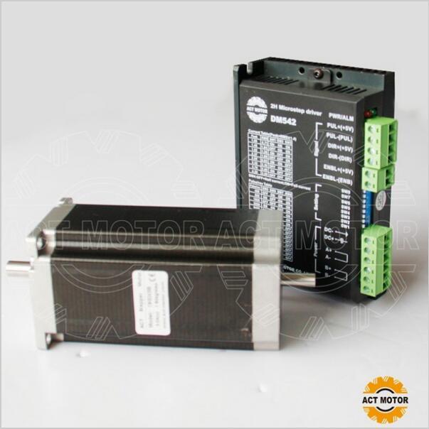 купить ACT Motor 1PC Nema23 Stepper Motor 23HS2430B Dual Shaft 4-Lead 425oz-in 112mm 3.0A+1PC Driver DM542 4.2A 50V 128Micro CNC Mill по цене 6597.51 рублей