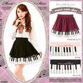2016 клавиатура Фортепиано печатных юбки женщин вино красный/черный сладкий a-line юбка вышивка юбки лолита стиль супер мило юбки