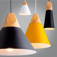 Slope Lamp Pendant Light Skrivo Design Wood Aluminum pendant lamps Vintage Wooden Lampshade handing silver yellow lamps E058