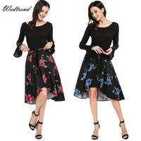 Wedtrend Audrey Hepburn Style Floral Print Vintage Dresses With Full Sleeves Asymmetrical Beautiful Vintage Chic Elegant