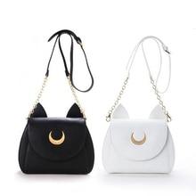 Beyaz/Siyah Sailor Moon Luna/Artemis omuzdan askili çanta Bayanlar Luna Kedi Deri Çanta Kadın Haberci Crossbody Zincir Küçük Çanta