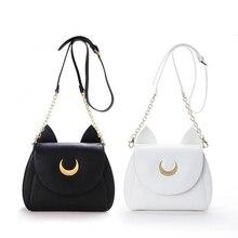 Weiß/Schwarz Sailor Moon Luna/Artemis Schulter Tasche Damen Luna Katze Leder Handtasche Frauen Messenger Umhängetasche Kette Kleine tasche