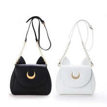 White/Black Sailor Moon Luna/Artemis Shoulder Bag Ladies Luna Cat Leather Handbag Women Messenger Crossbody Chain Small Bag