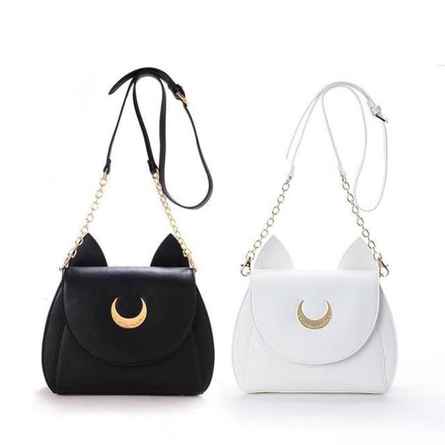 Wit/Zwart Sailor Moon Luna/Artemis Schoudertas Dames Luna Kat Lederen Handtas Vrouwen Messenger Crossbody Keten Kleine tas