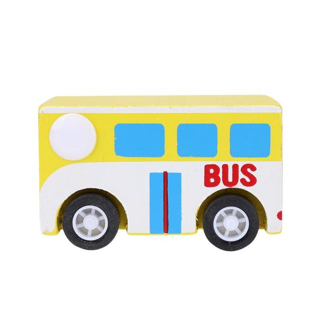 4 Style Wooden Modle Car Toys Pull Back Car New Mini Wooden Bus Toys for Children Kids AmbulanceTruck Car  Bus Birthday Gift