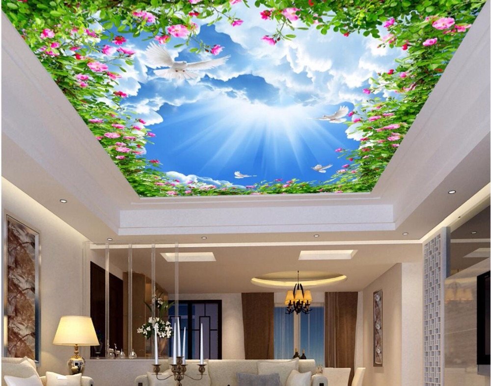 Custom 3d ceiling murals wallpaper home decor painting sun for Ceiling mural wallpaper