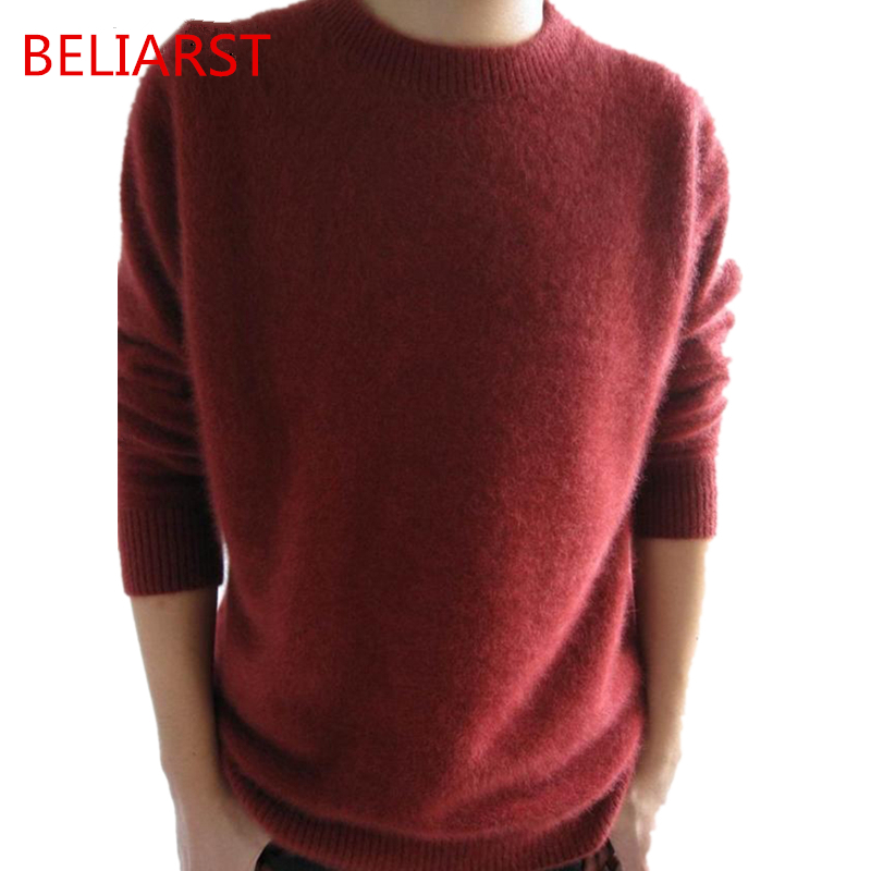 BELIARST  Men's Round Neck Thick Mink Sweaters Of Genuine Cashmere Sweater Solid Color Sweater Hedging Loose Knit Shirt Commerce