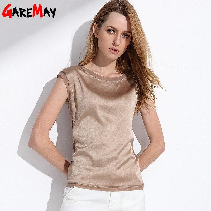 Summer women blouses 2018 new casual chiffon silk blouse slim sleeveless O-neck blusa feminina tops shirts solid 6 color Y048