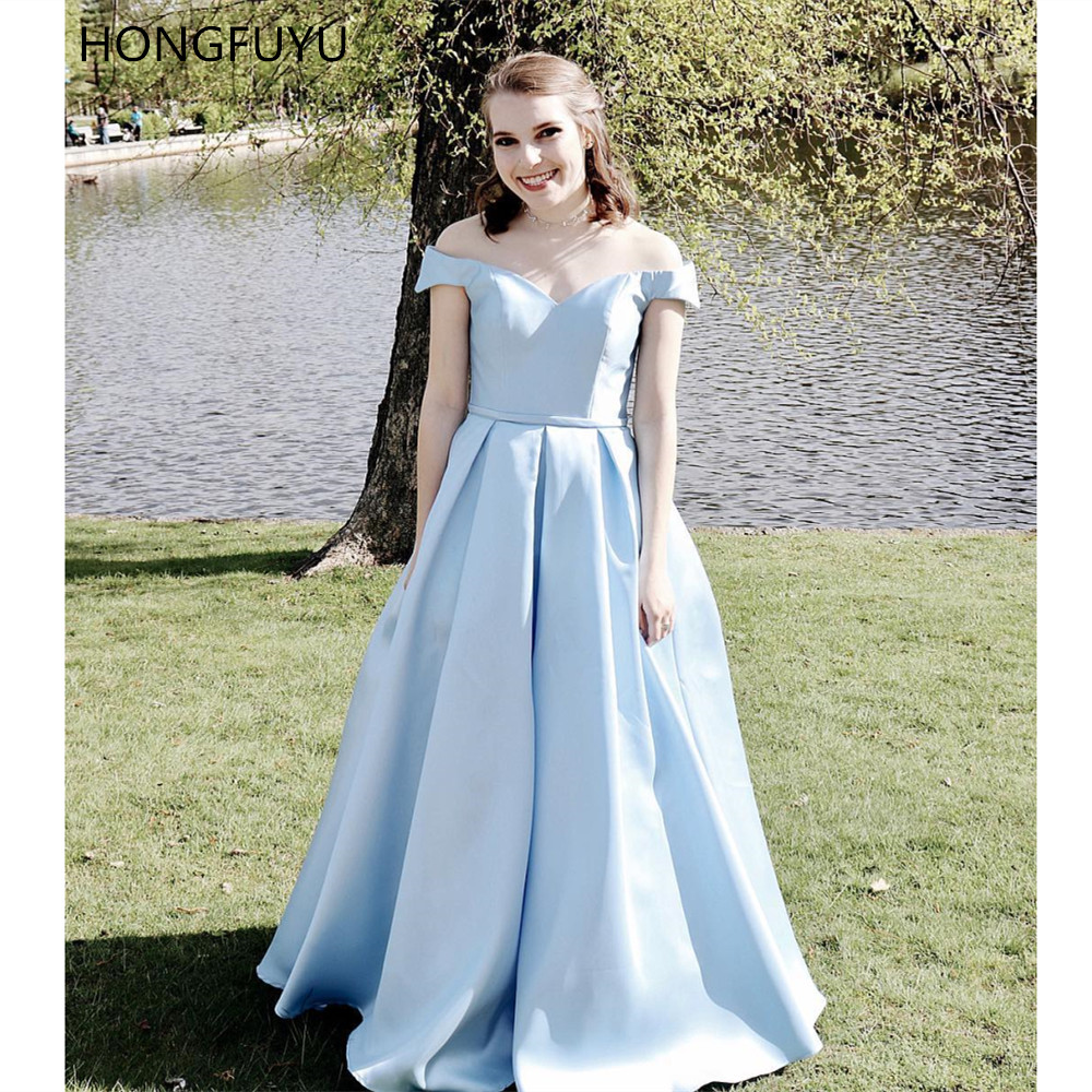 HONGFUYU Off the Shoulder Prom Dresses Satin A Line Formal Evening A-line Party Dress Floor Length robe de soiree with Pockets