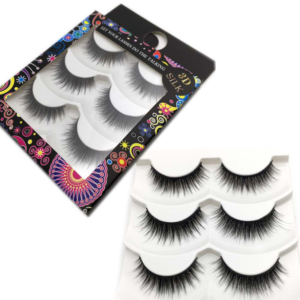 MIKIWI  New Style 3D False Eyelash Natural Fibers Thick Long False Eyelashes Big Eyes Beauty Makeup Lashes  DS39 3pair/pack
