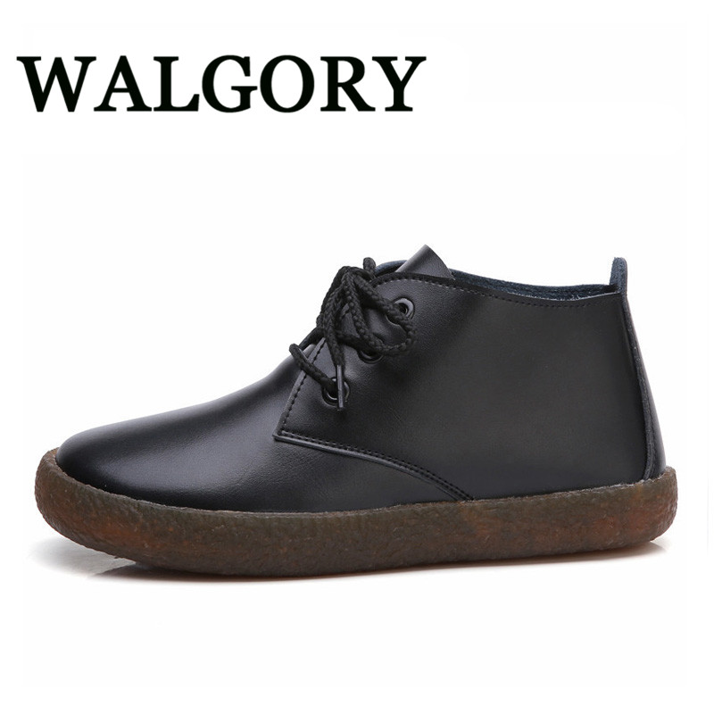 WALGORY Womens Big Size 43 Split Leather Flats Lace Up Moccasins Ladies Casual Shoes 2017 Autumn Oxfords Loafers Shoes