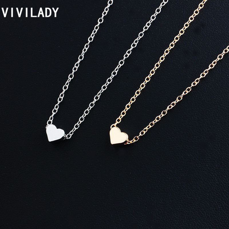 viviLady 3 pieces Trendy Tiny Heart Short Pendant Necklace Women Gold Plated Chain Lover Lady Girl Gifts Bijoux Fashion Jewelry