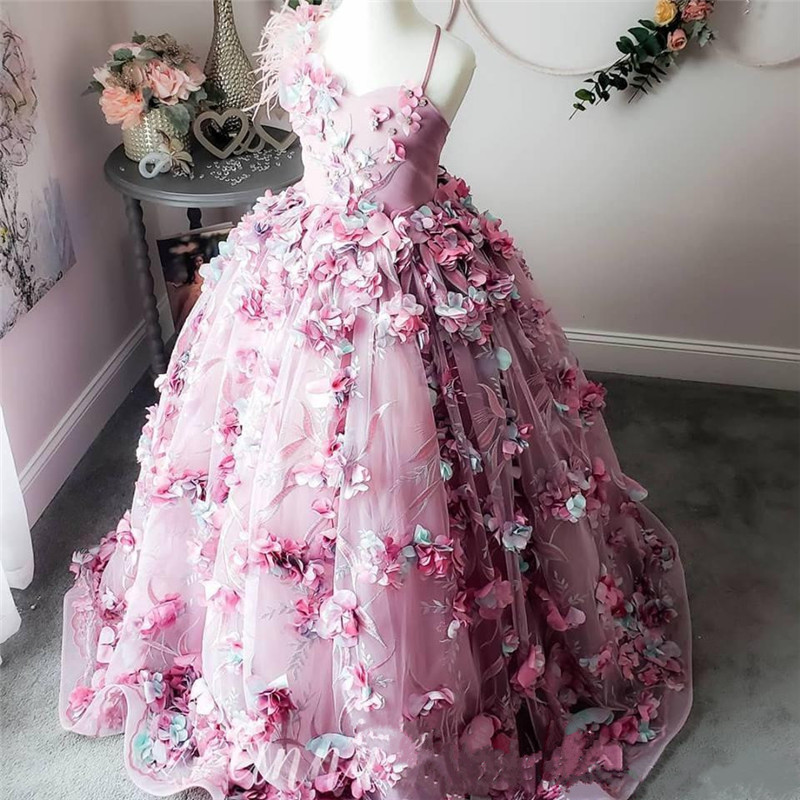 Luxurious 2019   Flower     Girls     Dresses   3D   Flowers   Feather Beaded Lace Up   Girl   Pageant   Dresses   Kids Child Birthday   Dress   Size 2-16Y