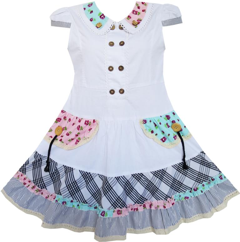 Sunny Fashion Flower Girl Dress White Cute Colorful Collar Back School Uniform Cotton 2016 Summer Princess Wedding Size 6-14