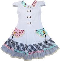 Girls Dress White Cute Colorful Collar Back School Uniform 6 14