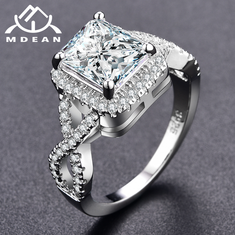 MDEAN White Gold Color Rings for Women Wedding Ring Women Rings Clear AAA Zircon Jewelry Fashion Ring Size 5-12 MSR136
