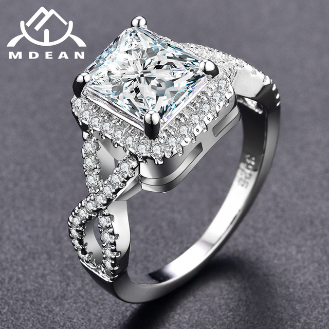 MDEAN White Gold Color Rings For Women Wedding Ring Women Rings Clear AAA  Zircon Jewelry Fashion