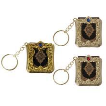 JACRICK 1 Pc Mini arche coran livre vrai papier peut lire arabe coran Style porte clés bijoux musulmans pour décoration cadeau de mariage