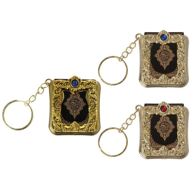 JACRICK 1 Pc מיני ארון קוראן ספר נייר אמיתי יכול לקרוא ערבית קוראן סגנון Keychain מוסלמי תכשיטי עבור deacoration חתונה מתנה