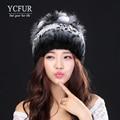 YCFUR Женщины Шапочки Шляпы Зима 2016 Полосы Природный Рекс кролик Меховые Шапки Silver Fox Меха Планки Натуральный Мех Береты женский