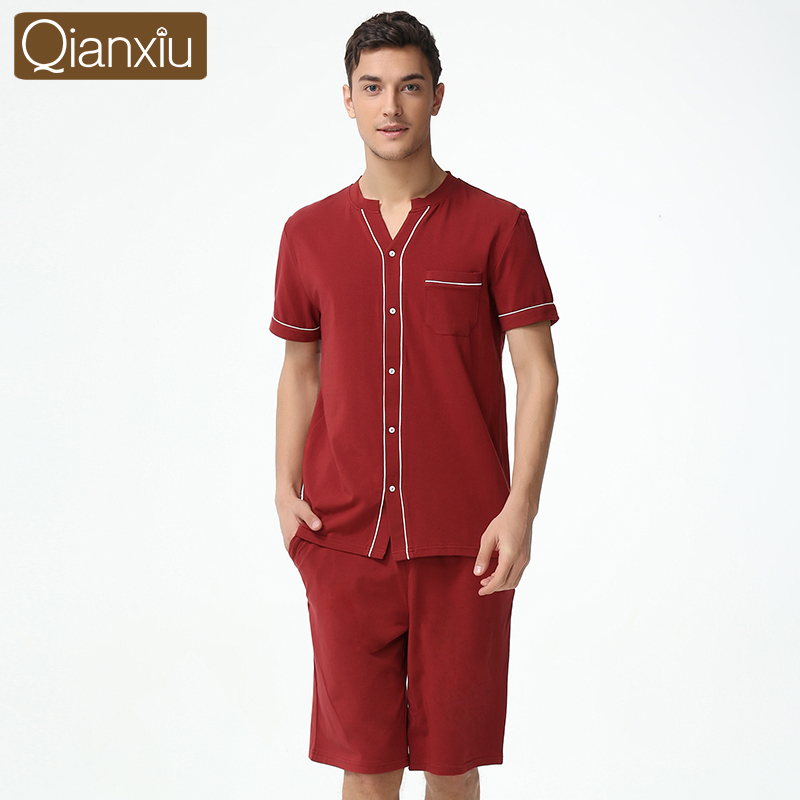 Confident 2019 Summer Brand Homewear Men Chinese Style Pajama Sets Male Cotton Modal Short Sleeve Shirts & Half Pants Mens Sleepwear Suit Underwear & Sleepwears Men's Sleep & Lounge