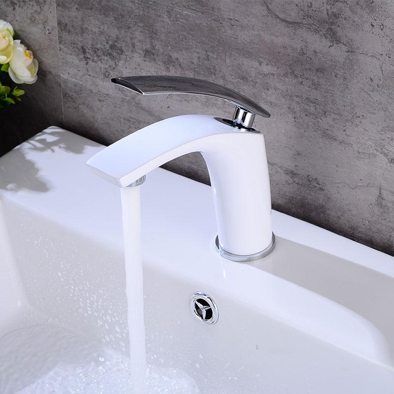Robinet d'évier de vanité de salle de bains mitigeur monotrou monté, mitigeur de lavabo en laiton blanc fini - 2
