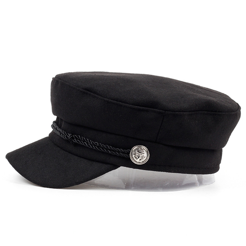 VORON new navy Cap Hat Female Winter Hats For Women Men Ladies Army Militar Hat wool Visor Black Cap Sailor Hat Bone Male