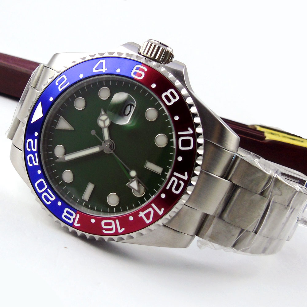 New Hot 43mm Bliger Green Sterile Dial GMT Date Sapphire Glass Luminous Hands Deployment Automatic Movement mens Watch