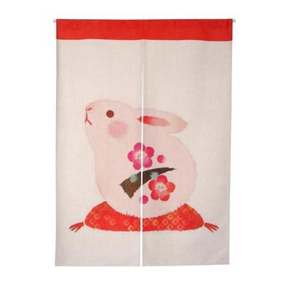 Taiwan Japan style Chinese lucky fortune rabbit fabric door curtain shade hanging bedroom living room kitchen home decorationTaiwan Japan style Chinese lucky fortune rabbit fabric door curtain shade hanging bedroom living room kitchen home decoration