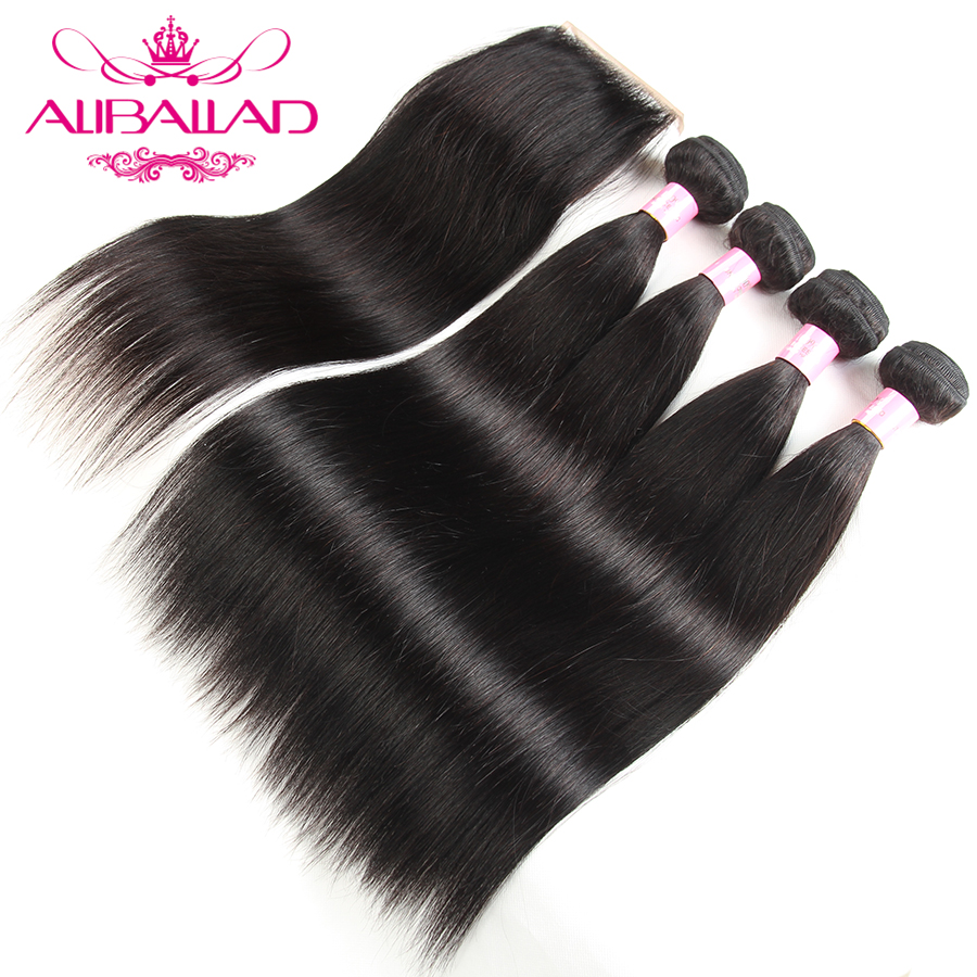 Peruvian Straight Human Hair Bundles With Lace Closure Nonremy Human Hair weave 4 Bundles With Closure