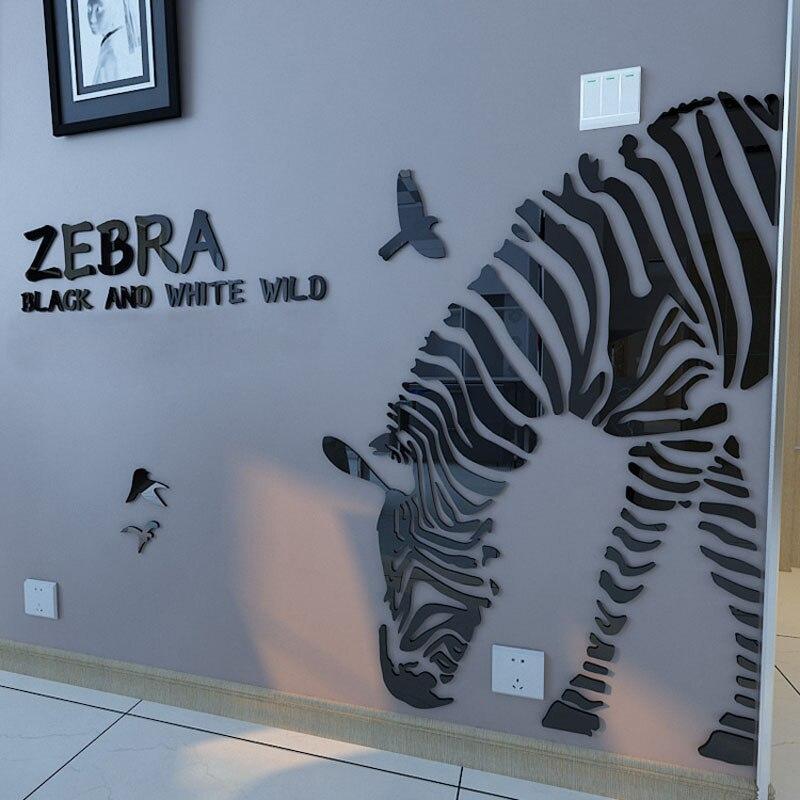 Customized Half Body Zebra Design 3D Acrylic Wall Stickers Modern Home Decorations DIY Sticker Stair Cafe Shop Living Room Decor