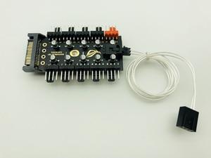 Image 5 - 最新 1 に 10 PC 冷却ファンハブスプリッタ LED ケーブル PWM SATA 12 V 電源スピードコントローラアダプタ bitcoin Miner のマイニングのための