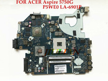 P5WE0 LA-6901P Laptop motherboard For Acer Aspire 5750 5750G for Gateway NV57H Original mainboard HM65 Tested Working