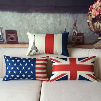 30*50cm flaga obicia na poduszki piękny rysunkowy potwór poszewka amerykańska brytyjska flaga francuska rzuć poduszka dla dzieci prezent urodzinowy