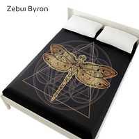 3D простыни на резинке кровати, простыни 160x200, матрас покрытие для кровати. Постельное белье, постельное белье черная Золотая стрекоза
