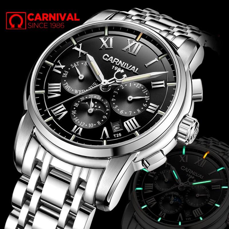 高級ブランドトリチウム T25 発光軍事腕時計男性ムーンフェイズ自動機械式時計防水時計 uhren montre  グループ上の 腕時計 からの 機械式時計 の中 1