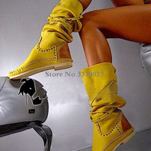 Women Hot Selling Yellow Suede Leather Round Toe Rivet Flat Boots Knee High Spik