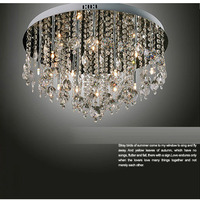 Free Shipping Noble Luxury 55cm Smoky Gray Crystal Hanging Ceiling Light Modern Living Room Bedroom Hotel