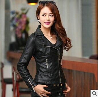 Высокое качество осень зима Pu куртки Новая мода с отворотом женская кожаная куртка размера плюс Jaqueta Couro S-XXXXL пальто A0305 - Цвет: black