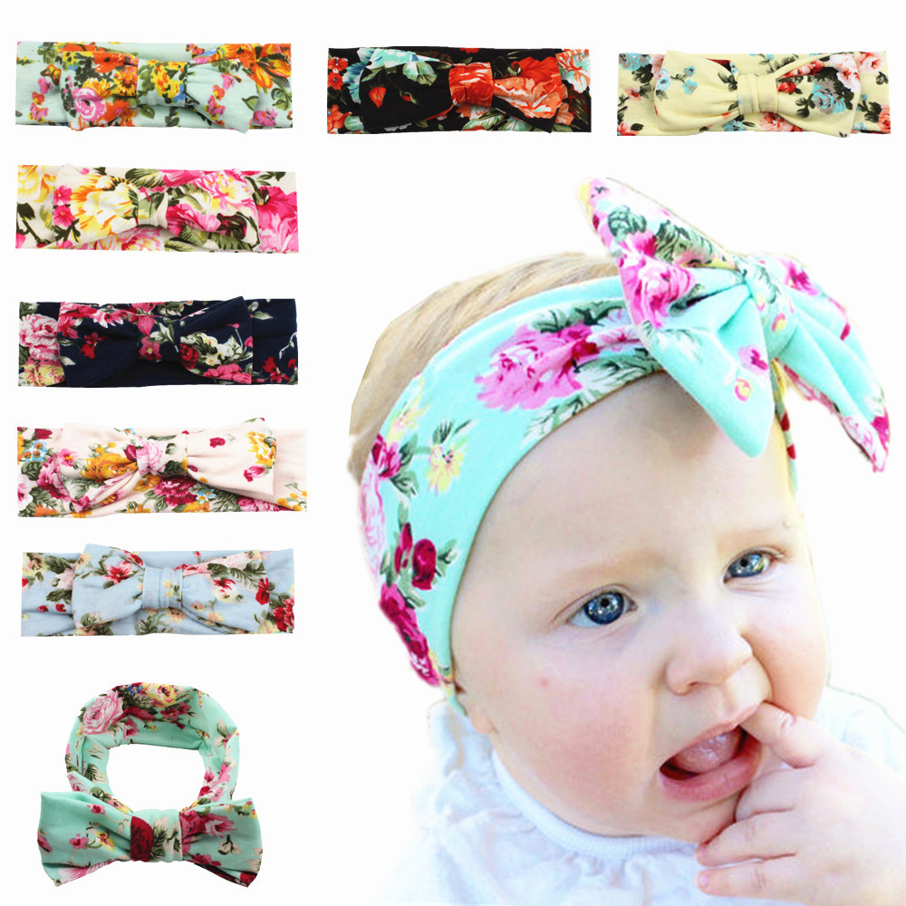 MengNa 24pcs Trendy European Floral Cotton Infantile Bow Headband Hot-sale Elastic Kids Girl DIY Hair Accessories High Quality image