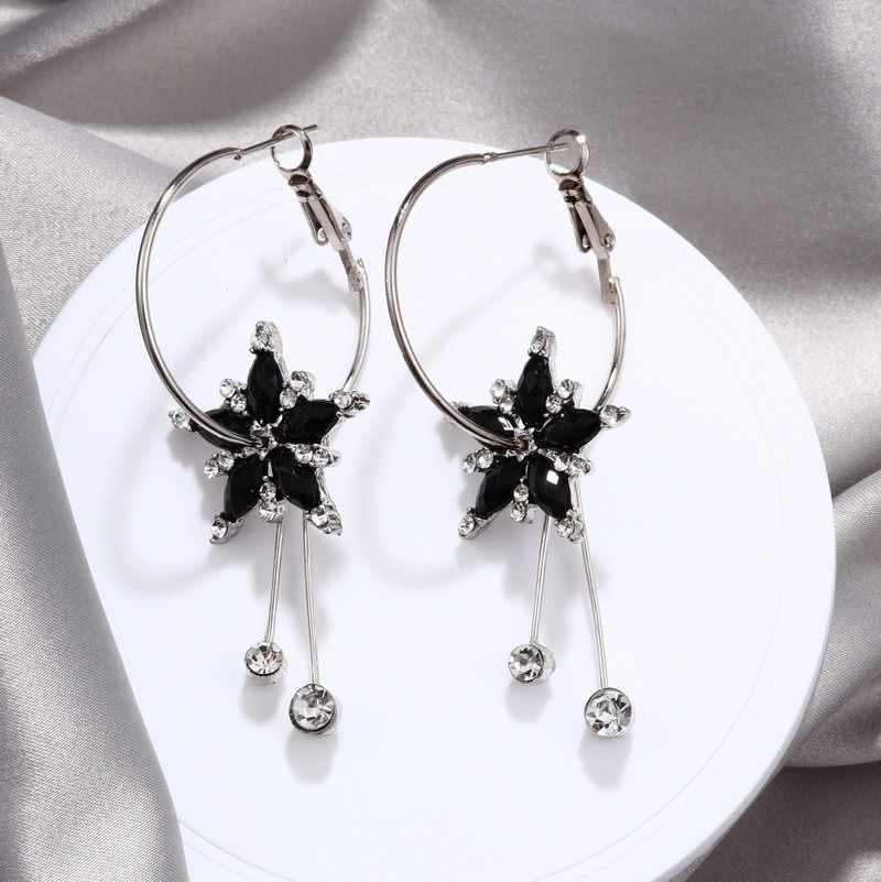 Aretes grandes de cristal austriaco coreano para mujer moda circonita cúbica pendientes grandes para mujer 2019 joyería