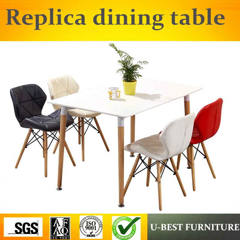 U-BEST High glossy nordic modern design dining table for home use, wooden round dining table for restaurant