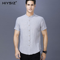 HIYSIZ NEW 100% Linen Shirts Men 2019 Casual Solid Streetwear Short Shirts Men Turn down Collar Men Shirts For Men Summer ST031