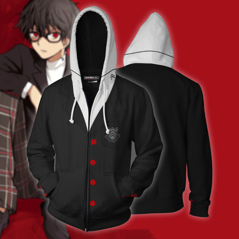 Anime Persona 5 Akira Kurusu Ren Amamiya Cosplay Costume 3D Print Hoodies Man Woman Casual Zipper Jacket Sweatshirt