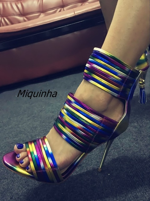 Unique Colorful Band Let Dress Sandals Cly Rainbow Leather Open Toe Stiletto High Heels Women