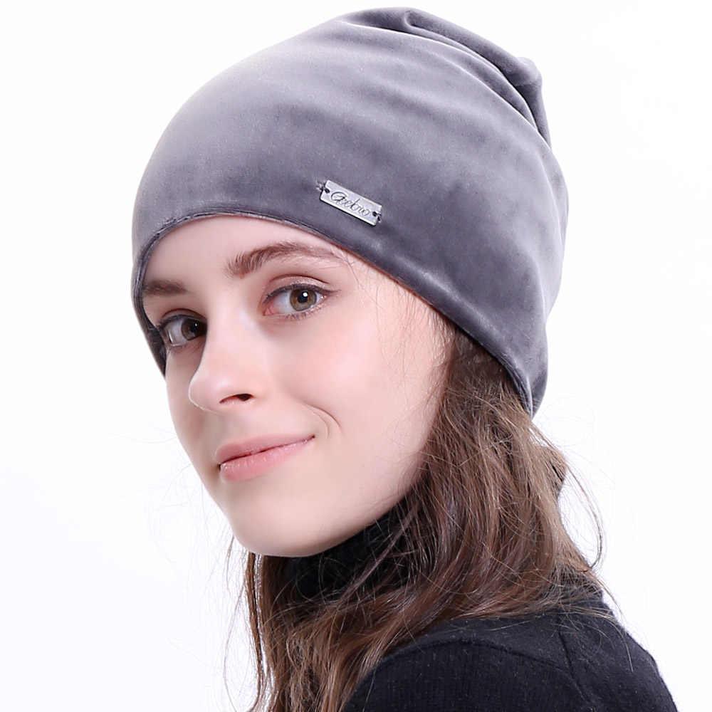 fde5449175bcb ... Geebro New Women s Beanie Hat Winter Casual Velour Warm Slouchy Beanies  for Women Female Balaclava Plain ...