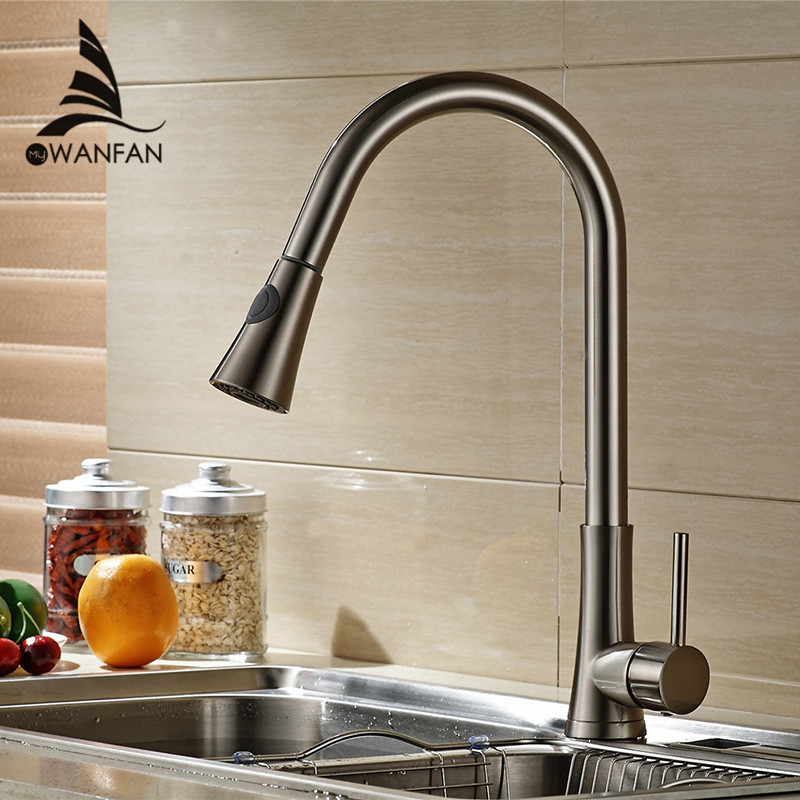 Modern New Brushed Nickel Kitchen Faucet Pull Out Single Handle Taps Swivel Spout Vessel Sink Mixer Tap Water Tap LK-9908 ouboni high quality chrome finished pull out spring kitchen faucet swivel spout vessel sink mixer taps